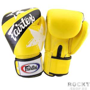 Боксерские перчатки Fairtex Nation Print, желтые, 12 oz Fairtex