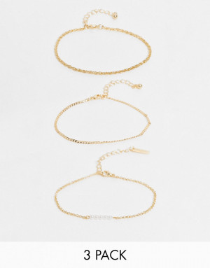 Набор из 3 золотистых браслетов с перекрученной цепочкой и искусственным жемчугом Topshop-Золотистый