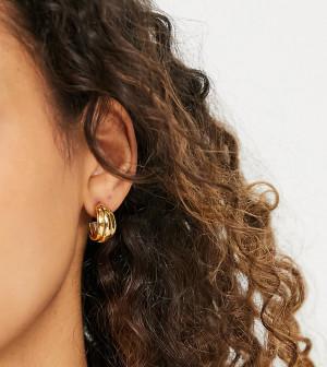 Позолоченные серьги-кольца с тремя рельефными полосками Orelia-Золотистый