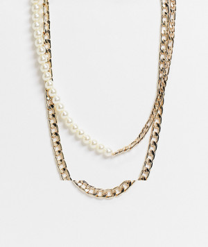 Золотистое ожерелье с комбинированным дизайном из цепочки и искусственных жемчужных бусинок ASOS DESIGN-Золотистый