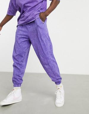 Фиолетовые оversized-джоггеры из легкой ткани с эффектом кислотной стирки и декоративными швами от комплекта ASOS DESIGN-Фиолетовый цвет