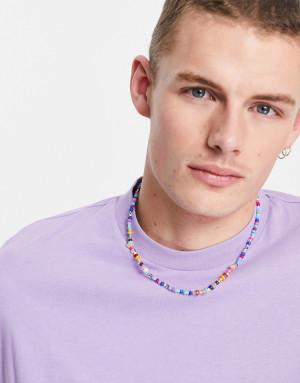 Ожерелье с разноцветными бусинами ASOS DESIGN-Многоцветный