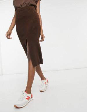 Темно-коричневая вязаная юбка Topshop-Коричневый цвет