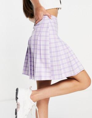 Фиолетовая теннисная юбка в клетку New Look-Фиолетовый цвет