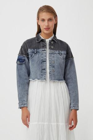 укороченная куртка из комбинированного денима Finn-Flare