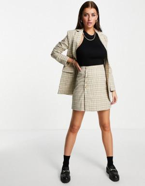 Мини-юбка A-силуэта с пуговицами и узором в винтажную клетку от комплекта Fashion Union-Многоцветный