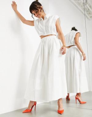 Белая юбка миди полностью из хлопка ASOS EDITION-Белый