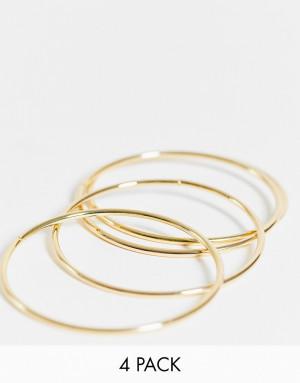 Набор из 4 золотистых браслетов DesignB London-Золотистый