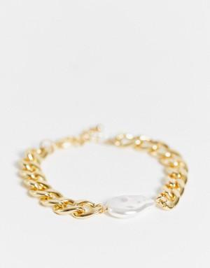 Массивный браслет-цепочка золотистого цвета сперламутровой вставкой DesignB London-Золотистый