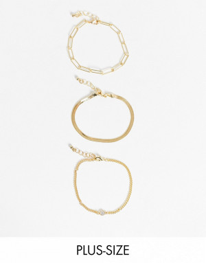 Эксклюзивный набор из 3 золотистых браслетов с тонкой и массивной цепочкой DesignB London Curve-Золотистый