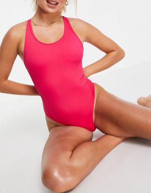 Слитный купальник с открытой спиной ASOS 4505-Розовый цвет