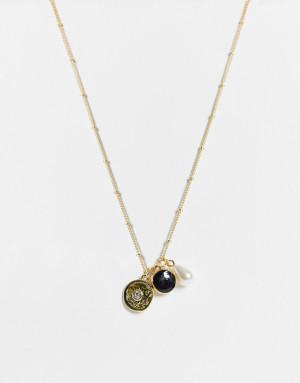 Ожерелье-цепочка с подвесками в виде искусственного жемчуга и камнями DesignB London-Золотистый