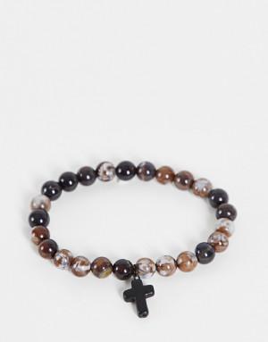 Браслет с бусинами-камнями 8 мм с дымчатым кварцем и крестом ASOS DESIGN-Коричневый цвет