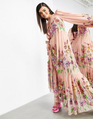 Нежно-розовое платье-трапеция макси с вышивкой и пышными рукавами ASOS EDITION-Розовый цвет