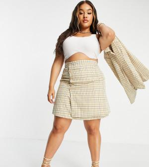 Мини-юбка A-силуэта с пуговицами и узором в винтажную клетку (от комплекта) Fashion Union Plus-Многоцветный