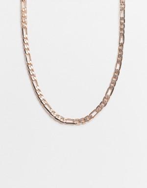 Золотистое ожерелье плетения фигаро из нержавеющей стали Icon Brand-Золотистый
