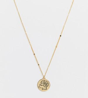 Золотистое ожерелье с зодиакальной подвеской со знаком Овна и камнем-оберегом Kate Spade-Золотистый