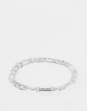 Серебристый фактурный браслет-цепочка плетения фигаро с массивными звеньями WFTW