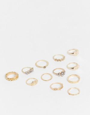 Броский набор составных золотистых колец с дизайном в виде соверена EGO-Золотистый