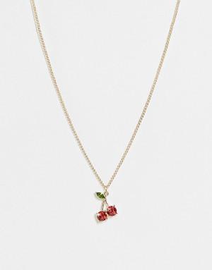 Ожерелье с подвеской с кристаллом в виде вишен золотого цвета Topshop-Золотистый