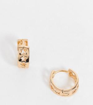 Золотистые серьги-кольца с прорезными звездами Reclaimed Vintage Inspired-Золотистый