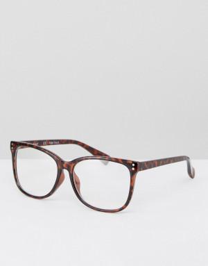 Круглые черепаховые очки с прозрачными стеклами AJ Morgan-Коричневый