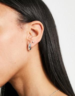 Массивные посеребренные серьги-кольца Orelia-Серебристый