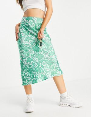 Зеленая косая юбка миди с узором пейсли Topshop-Зеленый цвет