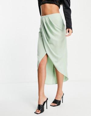 Мятная атласная юбка миди с драпировкой ASOS DESIGN-Зеленый цвет