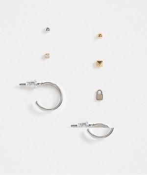 Набор из 8 непарных серег-колец и серег-гвоздиков серебристого цвета с гладким дизайном Topshop-Multi
