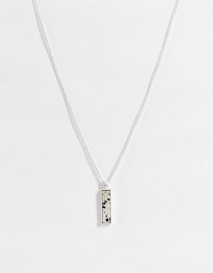 Серебристое ожерелье с мраморной подвеской Icon Brand-Серебристый