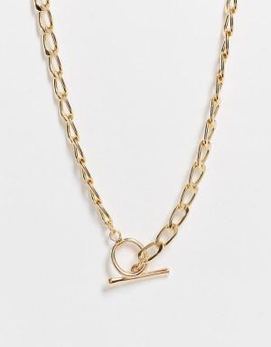 Золотистое ожерелье с Т-образной подвеской Accessorize-Золотистый