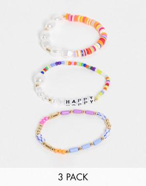 Набор из 3 разноцветных браслетов из бусин и жемчужин с надписью happy Liars & Lovers-Multi
