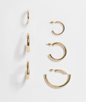 Набор из 3 пар золотистых массивных полых серег-колец Topshop-Золотистый
