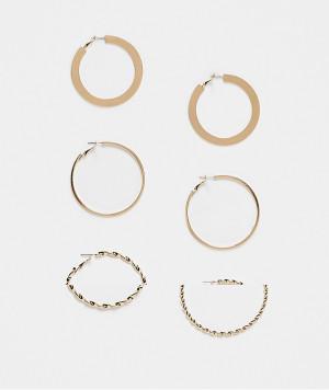 Набор из 3 пар золотистых полых серег-колец большого размера Topshop-Золотистый