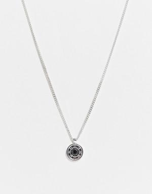 Серебристое ожерелье с подвеской в виде украшенного колеса Icon Brand-Серебристый