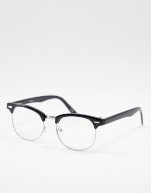 Черные солнцезащитные очки в стиле ретро с линзами голубоватого цвета ASOS DESIGN-Черный цвет