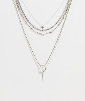 Набор из 5 серебристых цепочек с подвесками в винтажном рокерском стиле ASOS DESIGN-Серебристый