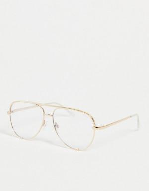 Женские маленькие очки-авиаторы с защитой от синего света в золотистой оправе Quay High Key Mini-Золотистый Quay Australia