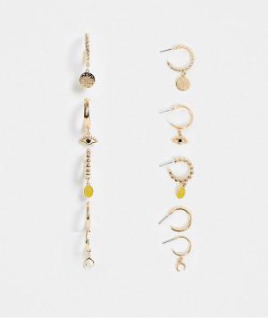 Набор из 5 пар золотистых серег-колец с подвесками Monki Vivien-Золотистый