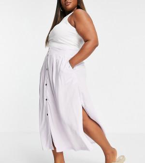 Сиреневая юбка миди на пуговицах с глубокими карманами ASOS DESIGN Curve-Разноцветный ASOS Curve