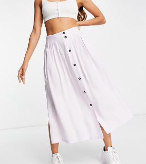 Сиреневая юбка миди на пуговицах с глубокими карманами ASOS DESIGN Petite-Разноцветный ASOS Petite