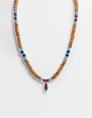 Разноцветное ожерелье из бусин с ракушкой Classics 77-Многоцветный