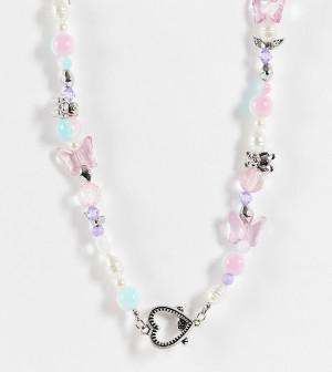 Серебристое ожерелье с бусинами, подвесками и застежкой в виде сердца с планкой ASOS DESIGN-Разноцветный ASOS Curve