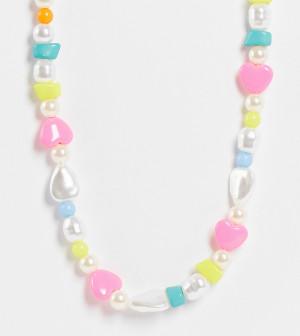 Ожерелье в стиле унисекс с отделкой разноцветным бусинами и искусственным жемчугом Reclaimed Vintage Inspired-Разноцветный