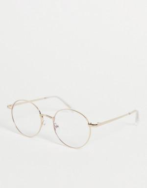 Круглые очки унисекс в золотистой оправе с защитой от синего излучения Quay I See You-Золотистый Quay Australia