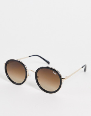 Черные круглые солнцезащитные очки в стиле унисекс с коричневыми стеклами Quay Firefly-Черный цвет Quay Australia