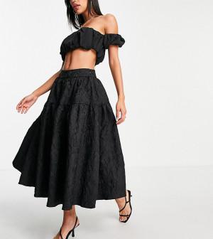 Ярусная фактурная юбка миди черного цвета для выпускного от комплекта Collective The Label Petite-Черный цвет