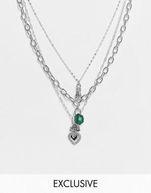 Многоярусное серебристое ожерелье с подвеской в виде горящего сердца Reclaimed Vintage Inspired-Серебряный