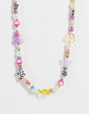 Ожерелье из разных пластиковых бусин ASOS DESIGN-Разноцветный